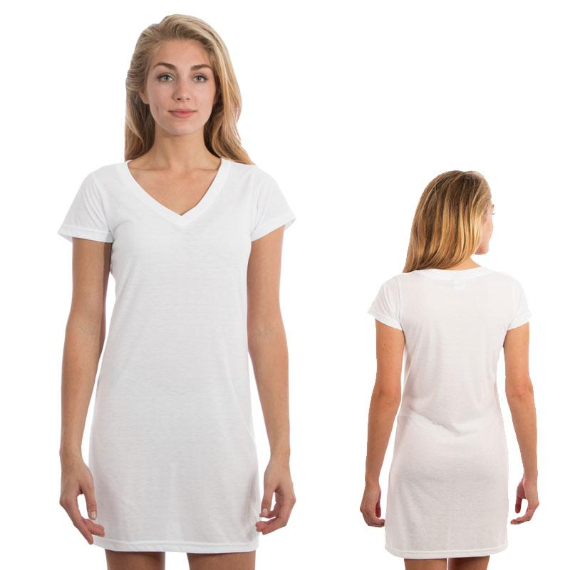 Vapor Ladies White Fashion Fit V Dress - White - Medium