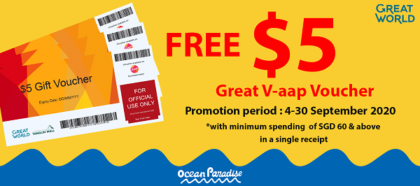 Free $5 Great V-aap Voucher With Min. Spending of $60