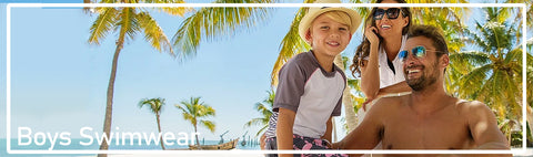 A wide range of stylish rashguards, swim trunks, boardshorts and coordinates for a perfect day at the pool and beach for boys.
