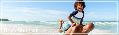 Find stylish UPF50+ rashguards, swimmers, swim trunks, boardshorts and coordinates for boys from babies, toddlers, juniors to pre-teens