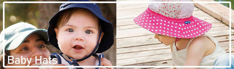 Shop for UPF 50+ sun hats for your babies. Wide variety including bucket hats, caps, swim flap hats for newborns, toddlers, and babies.