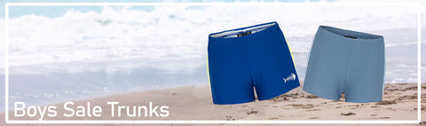 Swim Trunks for boys in various styles at clearance prices.