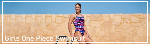 Girls one piece style swimsuits in various prints and designs - for competition, practice, leisure and fashion