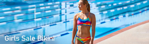 Bikinis and two-piece swimsuits for girls at special clearance prices. Make sure you filter the sizes you need so that you see what styles are available for you in them >> All Sale Items are Final Sale. Please see here for more details.
