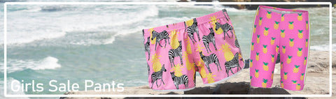 Swim shorts, jammers, bikini bottoms and leggings for girls at great sale prices. Make sure you filter the sizes you need so that you see what styles are available for you in them >> All Sale Items are Final Sale. Please see here for more details.
