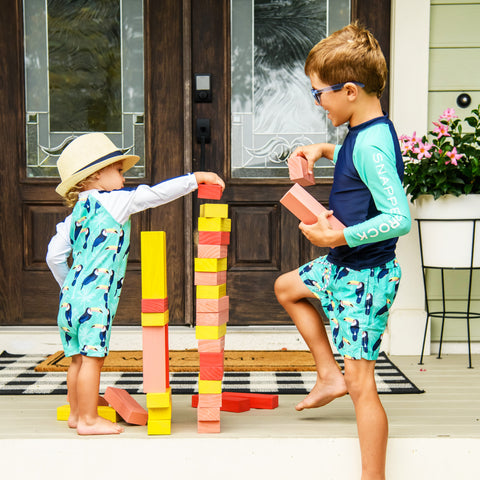 Snapper Rock Toucan Talk UPF 50+ Sunsuit and Snapper Rock Toucan Talk UPF 50+ Swim shorts Boys