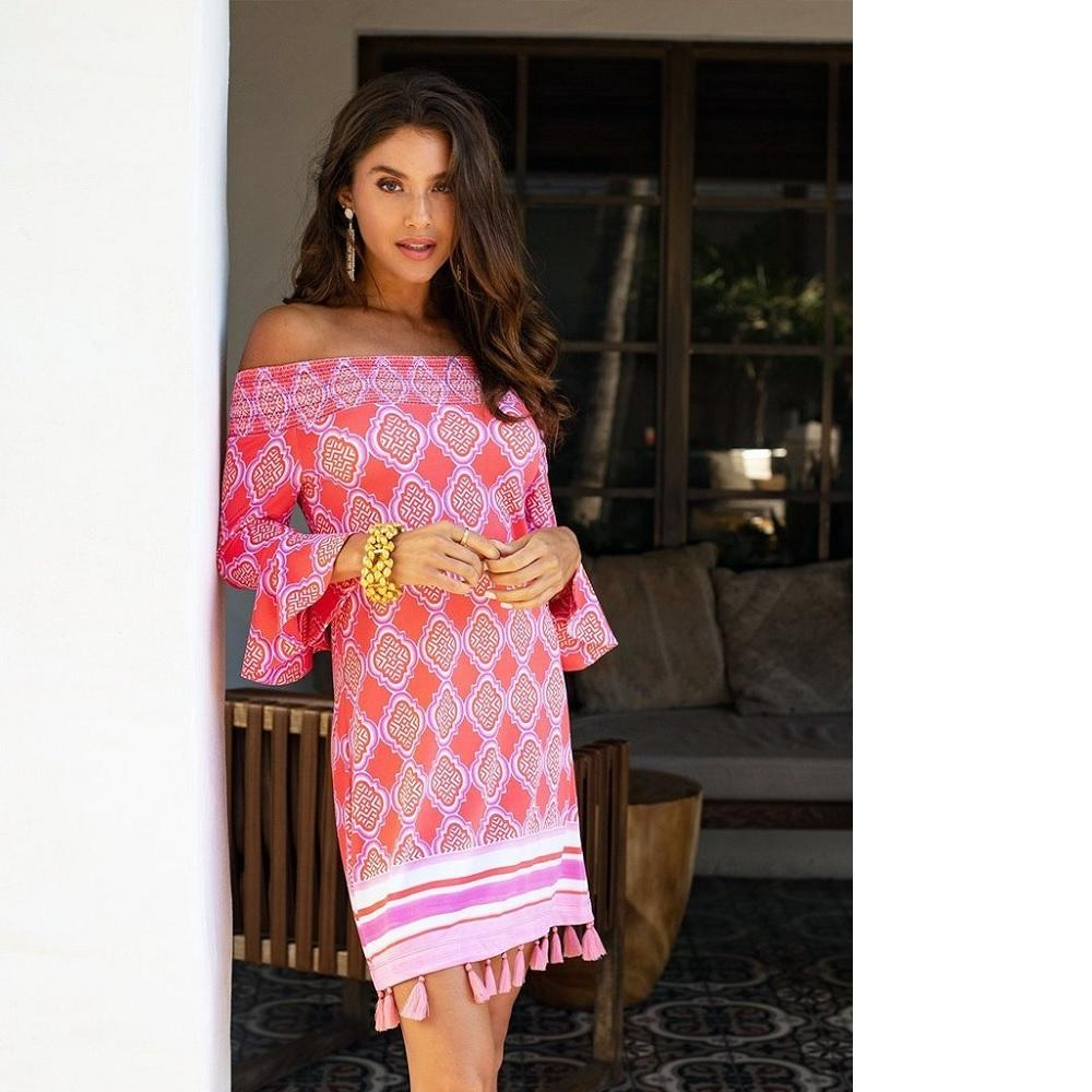 Cabana Life Coverluxe Smocked Dress - Coral Geo