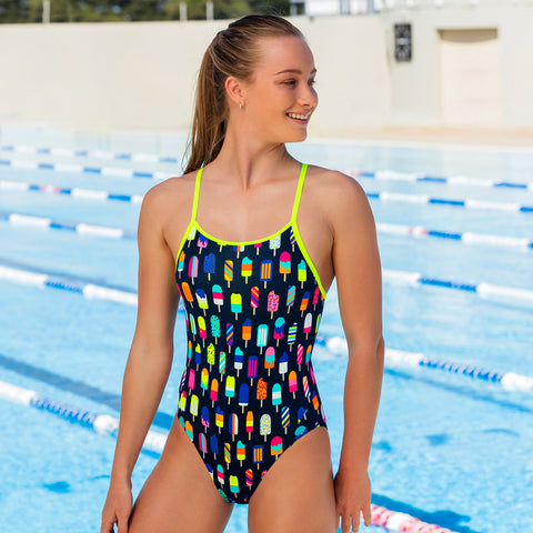 bdde6c427f Junior girls enjoy some fun in the Frosty Fruits printed one-piece swimmers  ($74.95)
