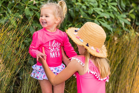 Girls Rash Guard Set and One Piece Swimsuit