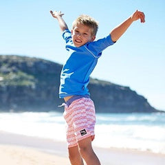 Boys Swim Shorts, Rash Guards at $40 each
