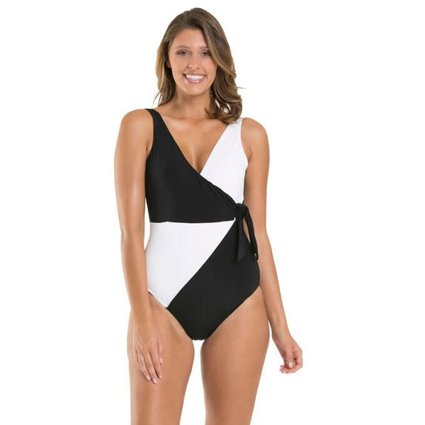 Jets Wrap One Piece J10519- Black/White