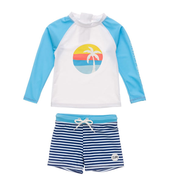 Snapper Rock Sunset Stripe Baby LS Set B52009- Navy