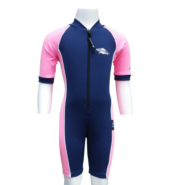 Stingray Raysuit Short Sleeves ST3001- Navy/Pink