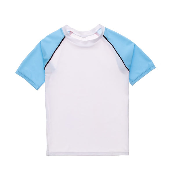 Snapper Rock White Lt Blue Sleeve SS Rash Top B10115S- White