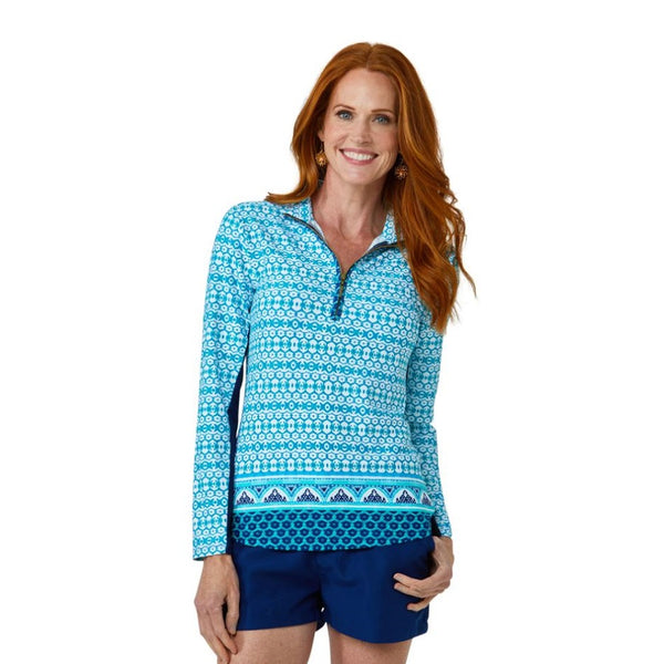 Cabana Life Wicking Performance Zip Top 594-AB20- Aruba Blues