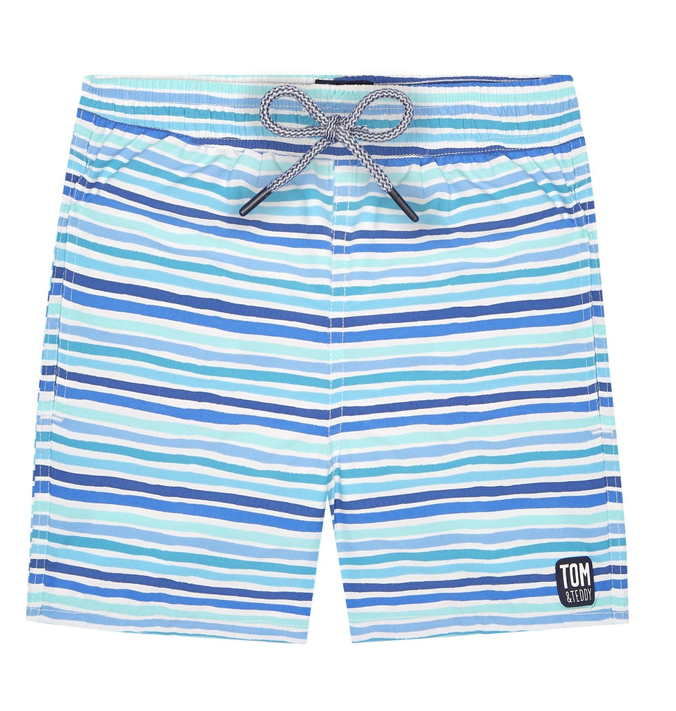 Tom & Teddy Stripe Boys Swim Shorts STROC-J- Ocean