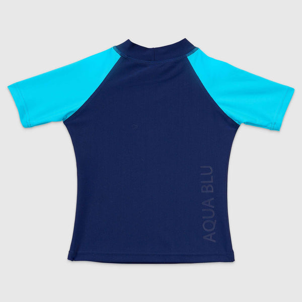 Aqua Blu Kids Short Sleeve Rash Vest AB9016BB- Stepping Stones Navy/ Aqua