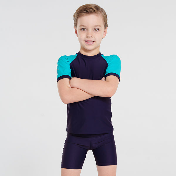 Aqua Blu Jr Short Sleeve Rash Vest AB9041BB- Stepping Stones Navy/Aqua