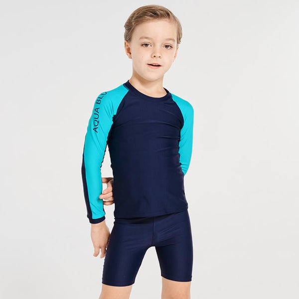 Aqua Blu Jr Long Sleeve Zip Rash Vest AB9042BB- Stepping Stones Navy/ Aqua