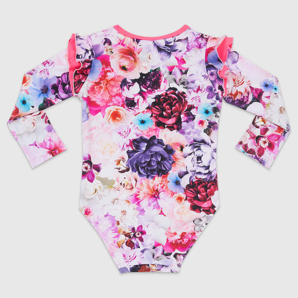 Aqua Blu Kids Flutter Long Sleeve One Piece AG9007PE- Peony