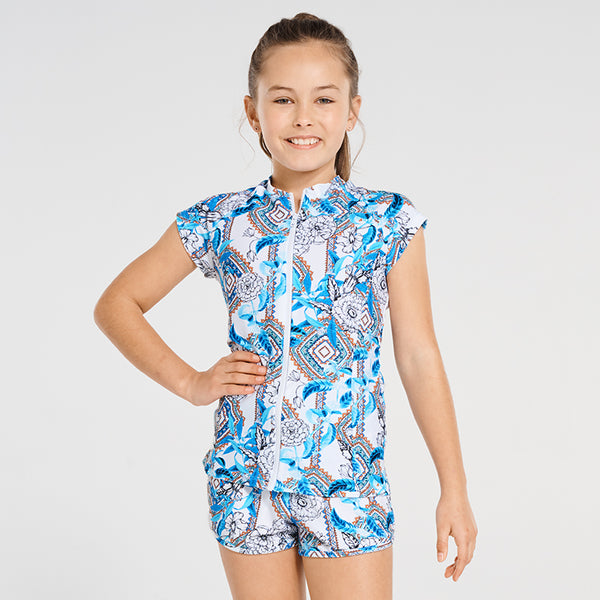 Aqua Blu Pre-Teens Short Sleeve Rash Vest AG9084WE- Wedgewood