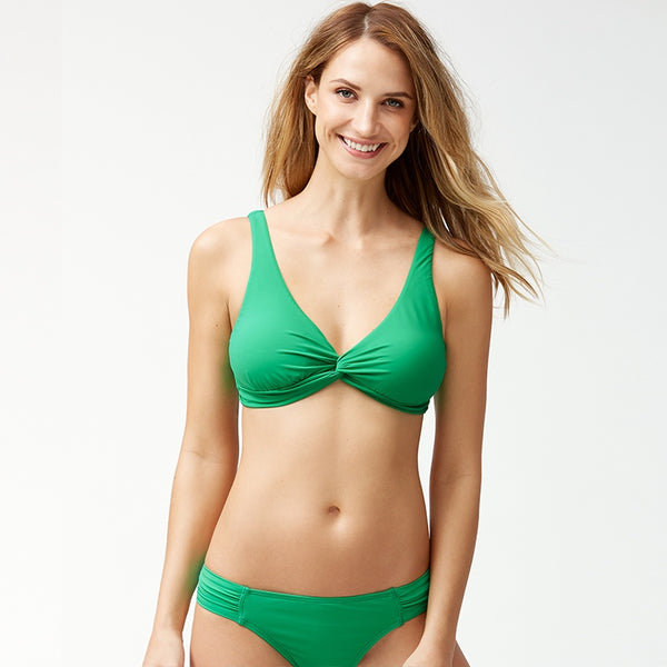 Tommy Bahama Underwire Twist Front Bra TSW80105T- Pearl Solids Carribean Green