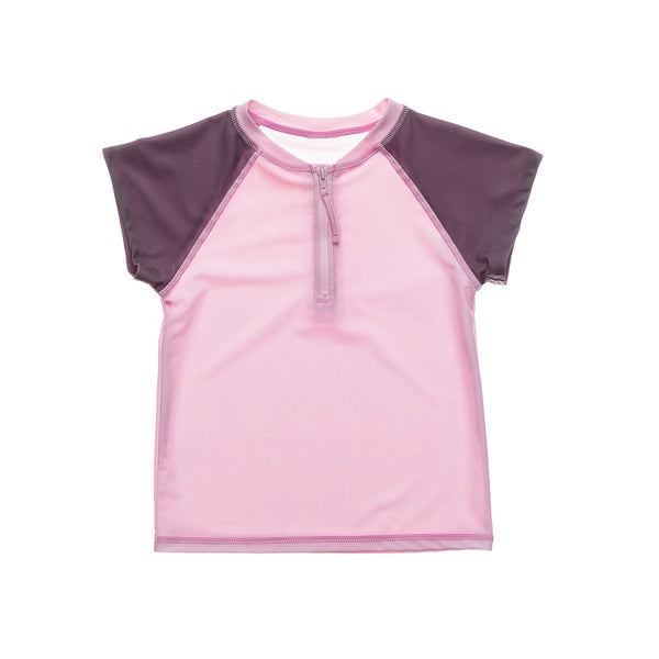 Snapper Rock Pink Grey Sleeve 1/2 Zip SS Rash Top G10114S- Pink