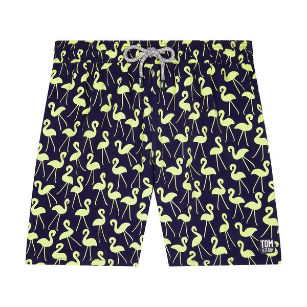Tom & Teddy Flamingo Men Swim Shorts FLABY- Dark Blue & Yellow