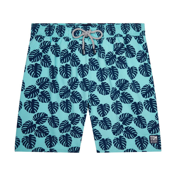 Tom & Teddy Leaf Men Swim Shorts LVSAN- Aqua & Navy