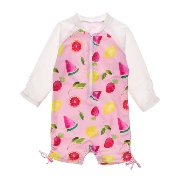 Snapper Rock Fruit Fiesta LS Sunsuit G70808L- Pink