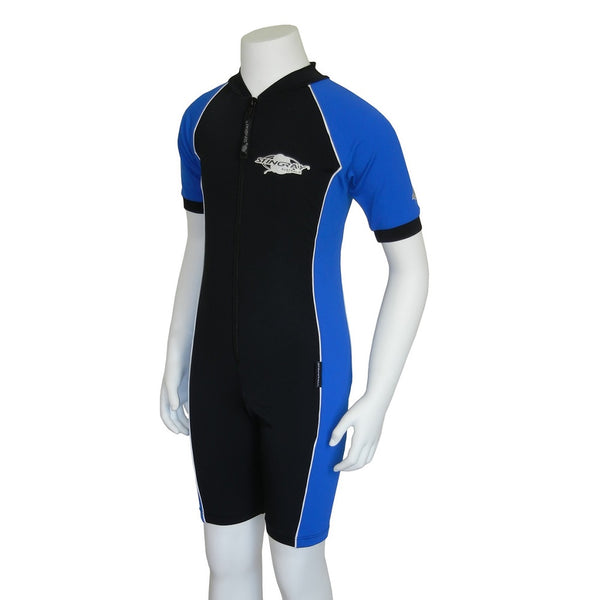 Stingray Youth Raysuit Short Sleeves ST3002- Black/Ocean Blue