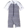 Snapper Rock 725 Toddlers Raysuit Short Sleeves- Navy/White Stripe