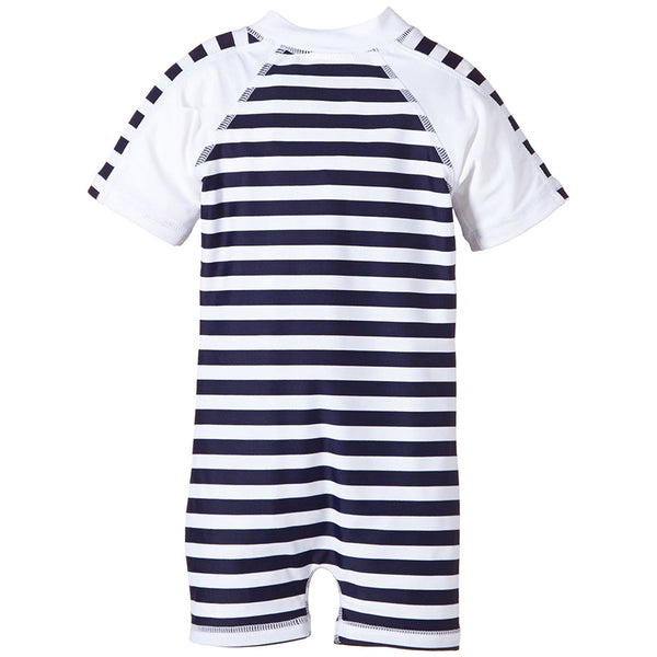 Snapper Rock Toddlers Raysuit Short Sleeves 725- Navy/White Stripe