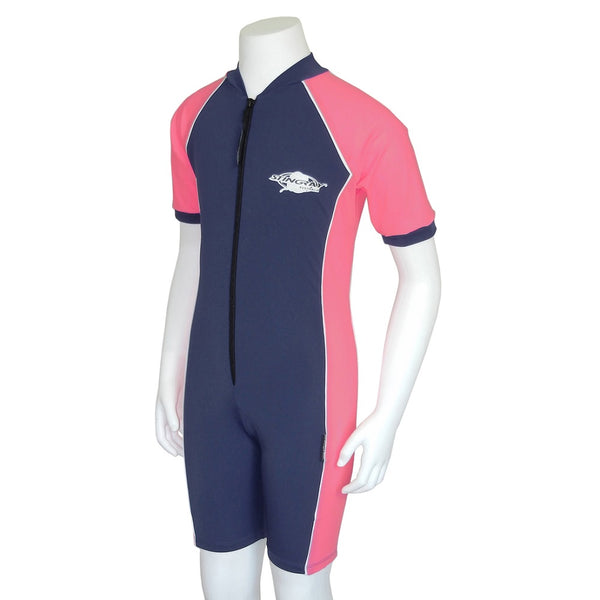 Stingray Youth Raysuit Short Sleeves ST3002- Navy/Pink