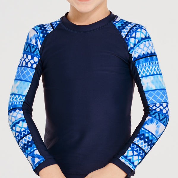 Aqua Blu Jr Long Sleeve Rash Vest AB9036RI- Riviera