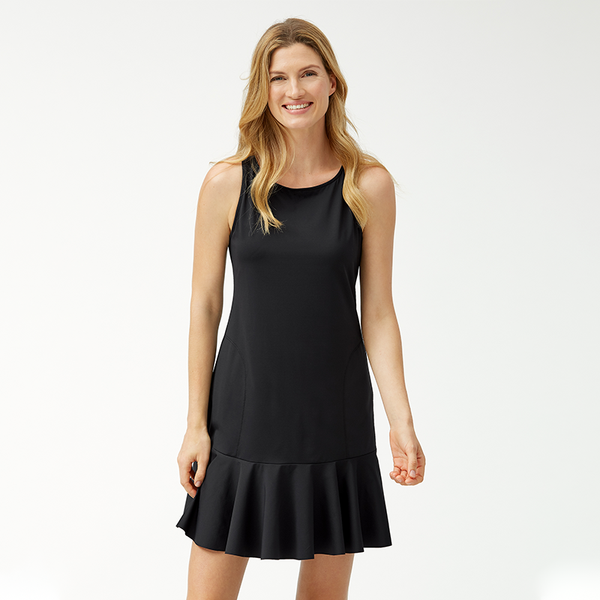 Tommy Bahama High Neck Flounce Spa Dress TSW70164C- Pearl Solids Black