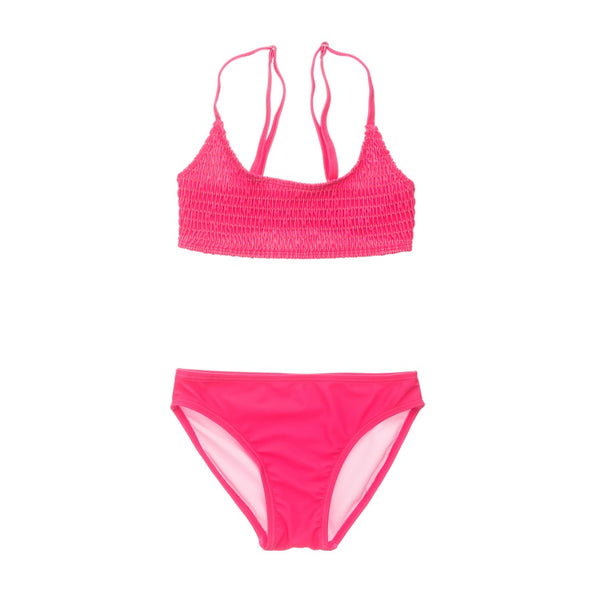 Snapper Rock Lipstick Shirred Crop Bikini G15108- Pink