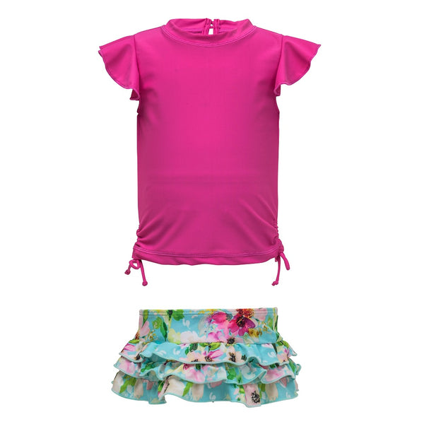 Snapper Rock Girls Ruffle Set Short Sleeves G50018S- Watercolor Floral