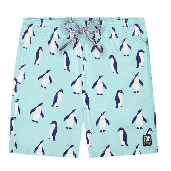 Tom & Teddy Penguin Boys Swim Shorts PENSB-J- Soft Blue