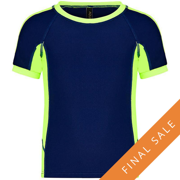 Aqua Blu Jr Rash Vest Short Sleeve AB8047BB- Stepping Shores Navy/Lime