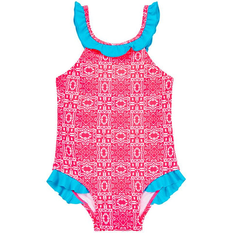 Aqua Blu Kids AG8017RD Frill One Piece-Raspberry Daze