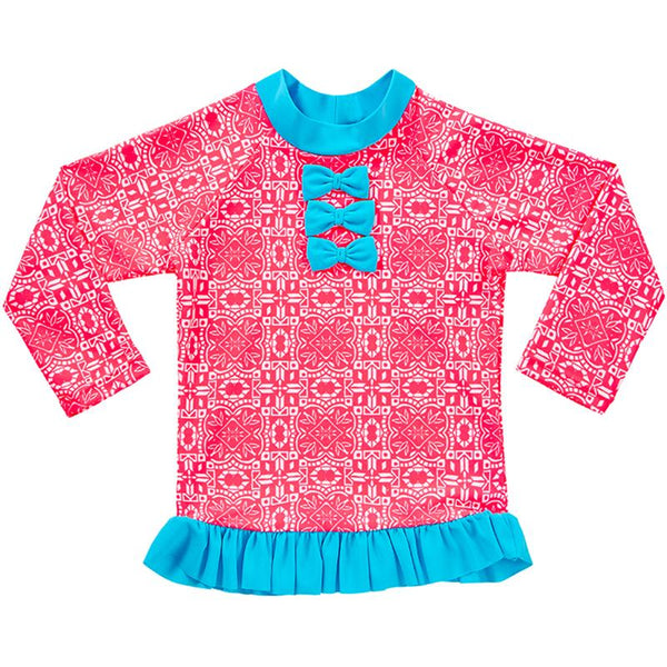 Aqua Blu Kids AG8020RD Tutu Rash Vest Long Sleeve- Raspberry Daze