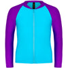 Aqua Blu Jr Zip Rash Vest Long Sleeve AG8063SS- Stepping Stones Blue/Pink