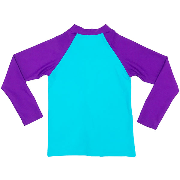 Aqua Blu Kids AG8063SS Zip Rash Vest Long Sleeve-Stepping Stones