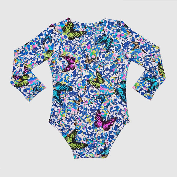 Aqua Blu Frill Long Sleeve One Piece Kids AG2002MP- Mariposa
