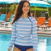 Cabana Life 431-A-JS8-JS Multi-Stripe Zipper Rash Guard