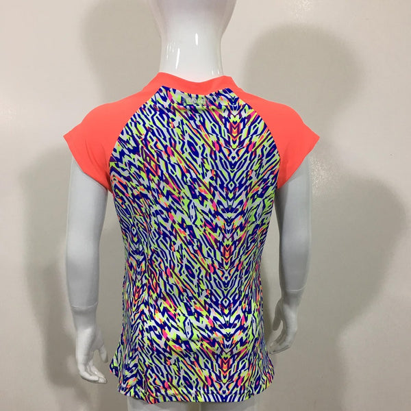 Cupid Girl Zip Rash Vest Short Sleeves Neon Tribe 101717