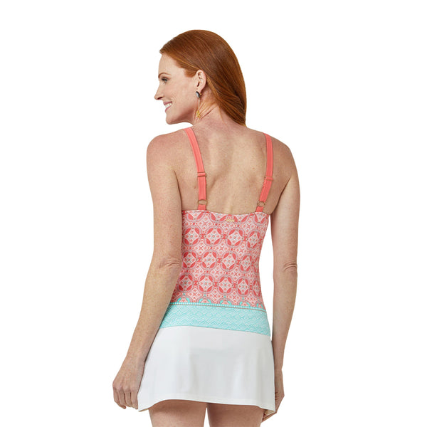 Cabana Life Embroidered Tankini Top 405-CT21- Coral Tides