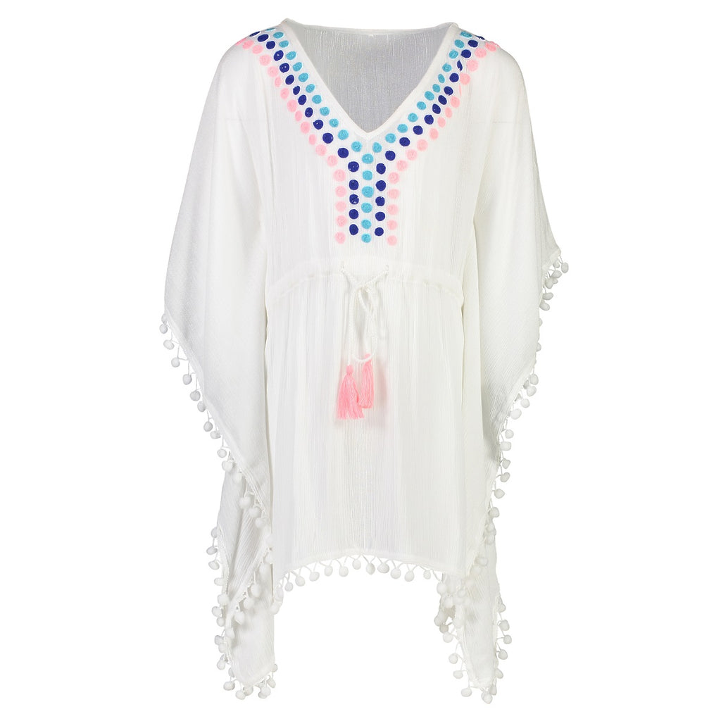 Snapper Rock Girls Kaftan G11043- Solids White Neon
