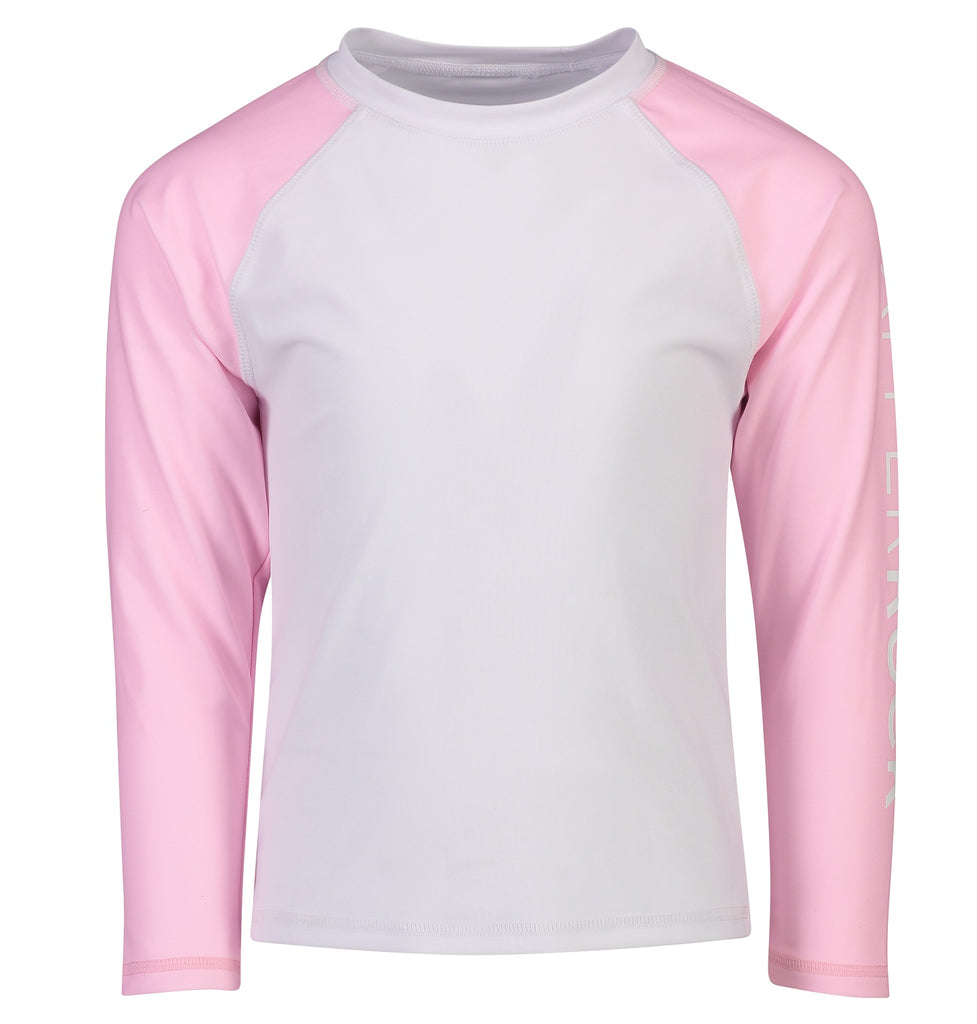 Snapper Rock Girls Rash Top Long Sleeves G20060L- Solids Pink White